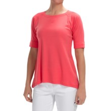 Lilla P Fine Rib Elbow Raglan Shirt - Elbow Sleeve (For Women) in Flamingo - Closeouts