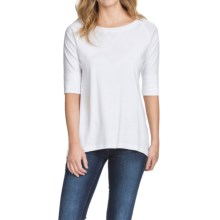 Lilla P Fine Rib Elbow Raglan Shirt - Elbow Sleeve (For Women) in White - Closeouts