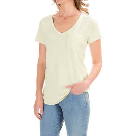 Lilla P Fine Rib Pocket T-Shirt - Pima Cotton, Short Sleeve (For Women) in Cucumber - Closeouts