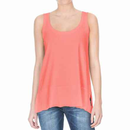 Lilla P Fine Rib Scoop Tank Top - Pima Cotton (For Women) in Guava - Closeouts