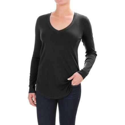 Lilla P Fine Rib V-Neck Shirt - Pima Cotton, Long Sleeve (For Women) in Black - Closeouts