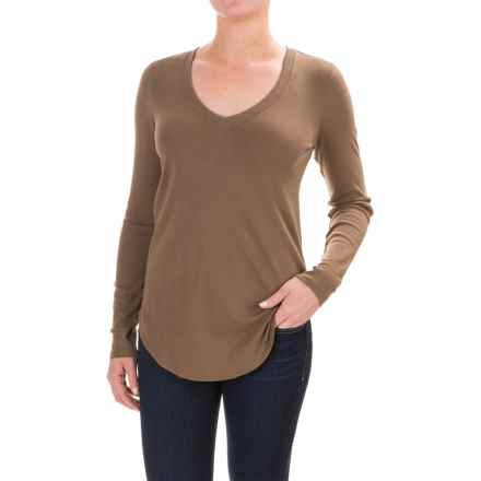 Lilla P Fine Rib V-Neck Shirt - Pima Cotton, Long Sleeve (For Women) in Thyme - Closeouts