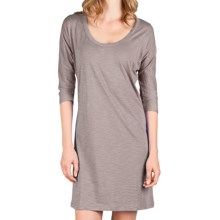 Lilla P Flame Easy Seamed Dress - Pima Cotton Slub, 3/4 Dolman Sleeve (For Women) in Opal - Closeouts