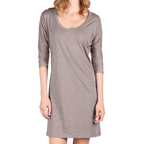 Lilla P Flame Easy Seamed Dress - Pima Cotton Slub, 3/4 Dolman Sleeve (For Women) in Opal