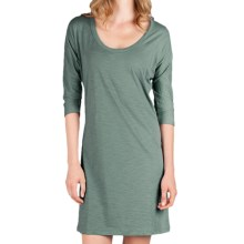 Lilla P Flame Easy Seamed Dress - Pima Cotton Slub, 3/4 Dolman Sleeve (For Women) in Vine - Closeouts