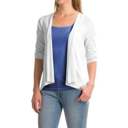 Lilla P Flame Gauze Cardigan Sweater - Open Front, 3/4 sleeve (For Women) in White - Closeouts