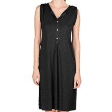 Lilla P Flame Henley Dress - Pima Cotton-Modal, Tab Shoulder (For Women) in Black - Closeouts