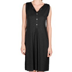 Lilla P Flame Henley Dress - Pima Cotton-Modal, Tab Shoulder (For Women) in Black