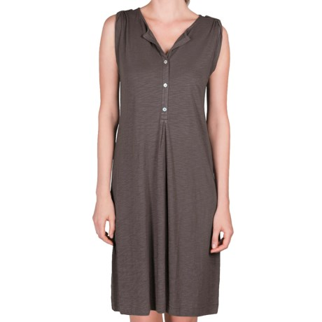 Lilla P Flame Henley Dress - Pima Cotton-Modal, Tab Shoulder (For Women) in Pewter