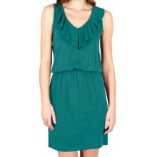 Lilla P Flame Modal Blouson Dress - Ruffle V-Neck, Sleeveless (For Women) in Peacock - Closeouts