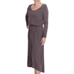 Lilla P Flame Pima-Modal Dress - Long Sleeve (For Women) in Steel