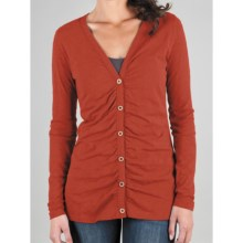 Lilla P Flame Ruched Cardigan Sweater - Pima Cotton Slub (For Women) in Cinnibar - Closeouts