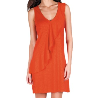 Lilla P Flame Ruffle Dress - Pima Cotton-Modal, Sleeveless (For Women) in Spice