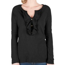 Lilla P Flame Ruffle Placket Henley Shirt - Pima Cotton Slub, Long Sleeve (For Women) in Black - Closeouts
