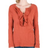 Lilla P Flame Ruffle Placket Henley Shirt - Pima Cotton Slub, Long Sleeve (For Women)