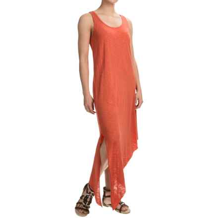 Lilla P Flame Side-Slit Tank Dress - Pima Cotton-Modal, Sleeveless (For Women) in Terracotta - Overstock