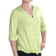 Lilla P Flame Tie Front Shirt - Elbow Sleeve (For Women) in Pistachio - Closeouts