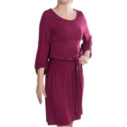 Lilla P Flame Tie-Waist Dress - Pima Cotton-Modal, 3/4 Sleeve (For Women) in Plum Wine