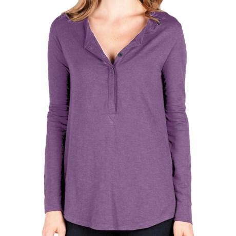 Lilla P Flame Tunic Henley Shirt - Pima Cotton-Modal, Long Sleeve (For Women) in Dark Quartz