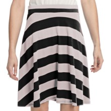 Lilla P Flared Stripe Skirt - Stretch Pima Cotton-Modal (For Women) in Black/Silver - Closeouts