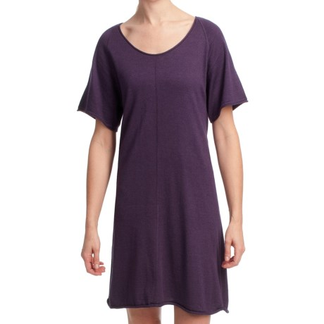Lilla P Flutter Sleeve Sweater Dress - Short Sleeve (For Women) in Violet