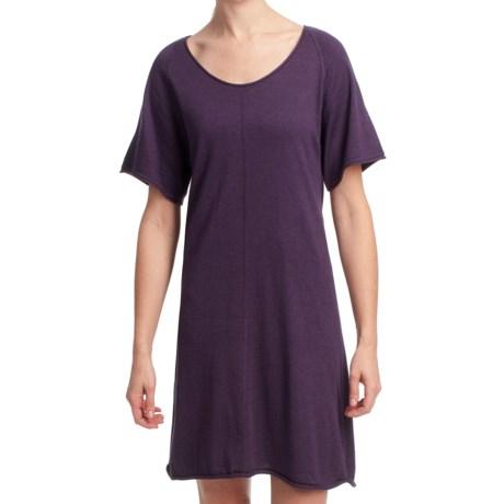 Lilla P Flutter Sleeve Sweater Dress - Short Sleeve (For Women) in Violet