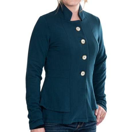 Lilla P French Terry Peplum Jacket (For Women) in Stream