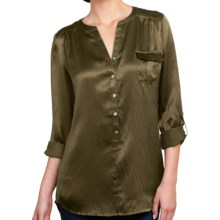 Lilla P Hammered Silk Pocket Tunic - Long Sleeve (For Women) in Fatigue Silk - Closeouts