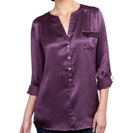 Lilla P Hammered Silk Pocket Tunic - Long Sleeve (For Women) in Black Silk