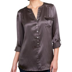 Lilla P Hammered Silk Pocket Tunic - Long Sleeve (For Women) in Black Silk