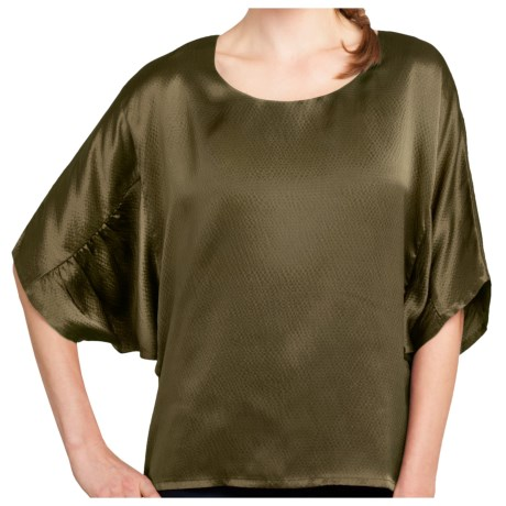Lilla P Hammered Silk Shirt - Shirred 3/4 Dolman Sleeve (For Women) in Fatigue Silk