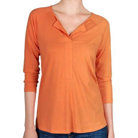 Lilla P Henley Shirt - Pima Cotton-Modal, 3/4 Sleeve (For Women) in Tangerine