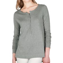 Lilla P Hi-Lo Henley Tunic Sweater - Cotton-Modal-Cashmere (For Women) in Mist - Closeouts