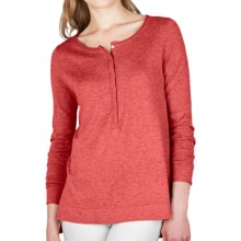 Lilla P Hi-Lo Henley Tunic Sweater - Cotton-Modal-Cashmere (For Women) in Sedona - Closeouts