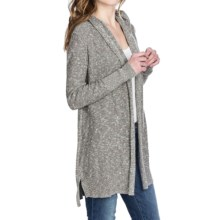 Lilla P Hooded Duster Sweater - Marled Cotton (For Women) in Mushroom Slub - Closeouts