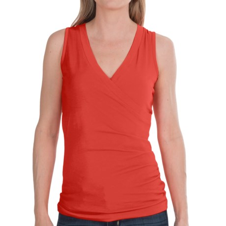 Lilla P Jersey Surplice Shirt - Pima Cotton, Sleeveless (For Women) in Bright Papaya