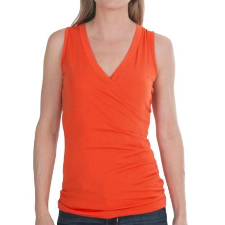Lilla P Jersey Surplice Shirt - Pima Cotton, Sleeveless (For Women) in Clementine