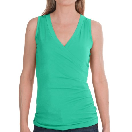 Lilla P Jersey Surplice Shirt - Pima Cotton, Sleeveless (For Women) in Mojito