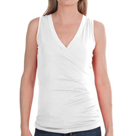 Lilla P Jersey Surplice Shirt - Pima Cotton, Sleeveless (For Women) in White