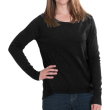 Lilla P Knit and Woven Sweater - Boat Neck (For Women) in Black Graphite - Closeouts