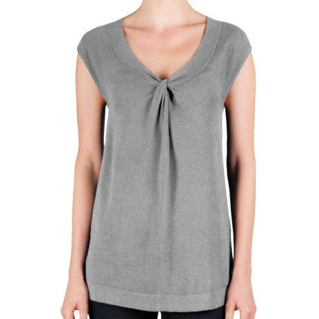 Lilla P Knot Front Tunic - Cotton-Modal, Dolman Sleeve (For Women) in Heather Grey