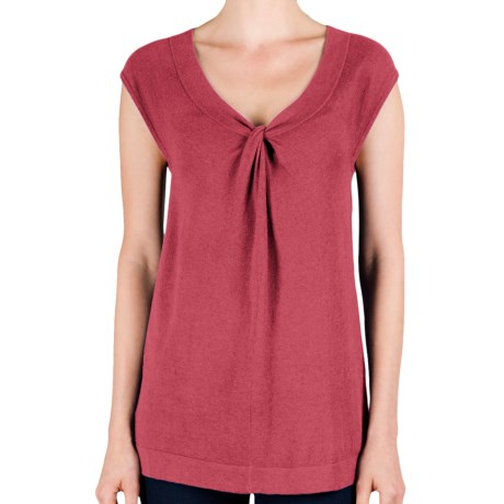 Lilla P Knot Front Tunic - Cotton-Modal, Dolman Sleeve (For Women) in Peony