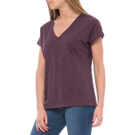 Lilla P Loose Knit Dolman Shirt - V-Neck, Short Sleeve (For Women) in Fig - Closeouts
