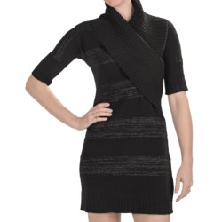 Lilla P Lurex Sweater Dress - Elbow Sleeve (For Women) in Chrome Lurex