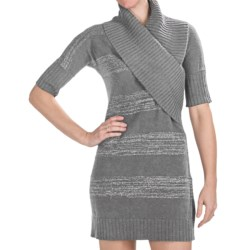 Lilla P Lurex Sweater Dress - Elbow Sleeve (For Women) in Chrome Lurex
