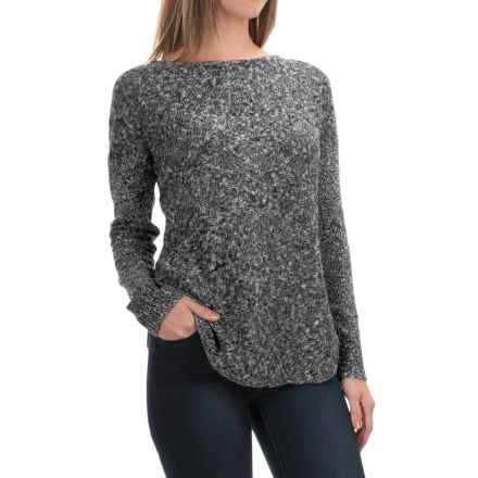 Lilla P Marled Side-Split Sweater - Boat Neck (For Women) in Black Slub - Overstock