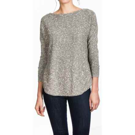 Lilla P Marled Side-Split Sweater - Boat Neck (For Women) in Mushroom Slub - Overstock