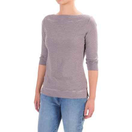 Lilla P Microstripe Shirt - Pima Cotton, 3/4 Sleeve (For Women) in Raven Microstripe - Closeouts