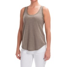 Lilla P Microstripe Waffle Scoop Neck Tank Top (For Women) in Flax Waffle - Closeouts