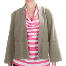 Lilla P Notch Collar Jacket - Stretch French Terry, 3/4 Sleeve (For Women) in Raffia - Closeouts